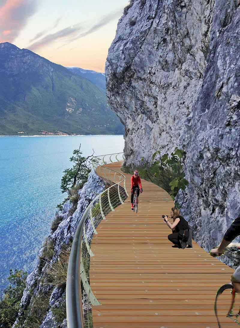 """Gardasjön får """"svävande"""" cykelväg – spås bli vackrast i Europa"""