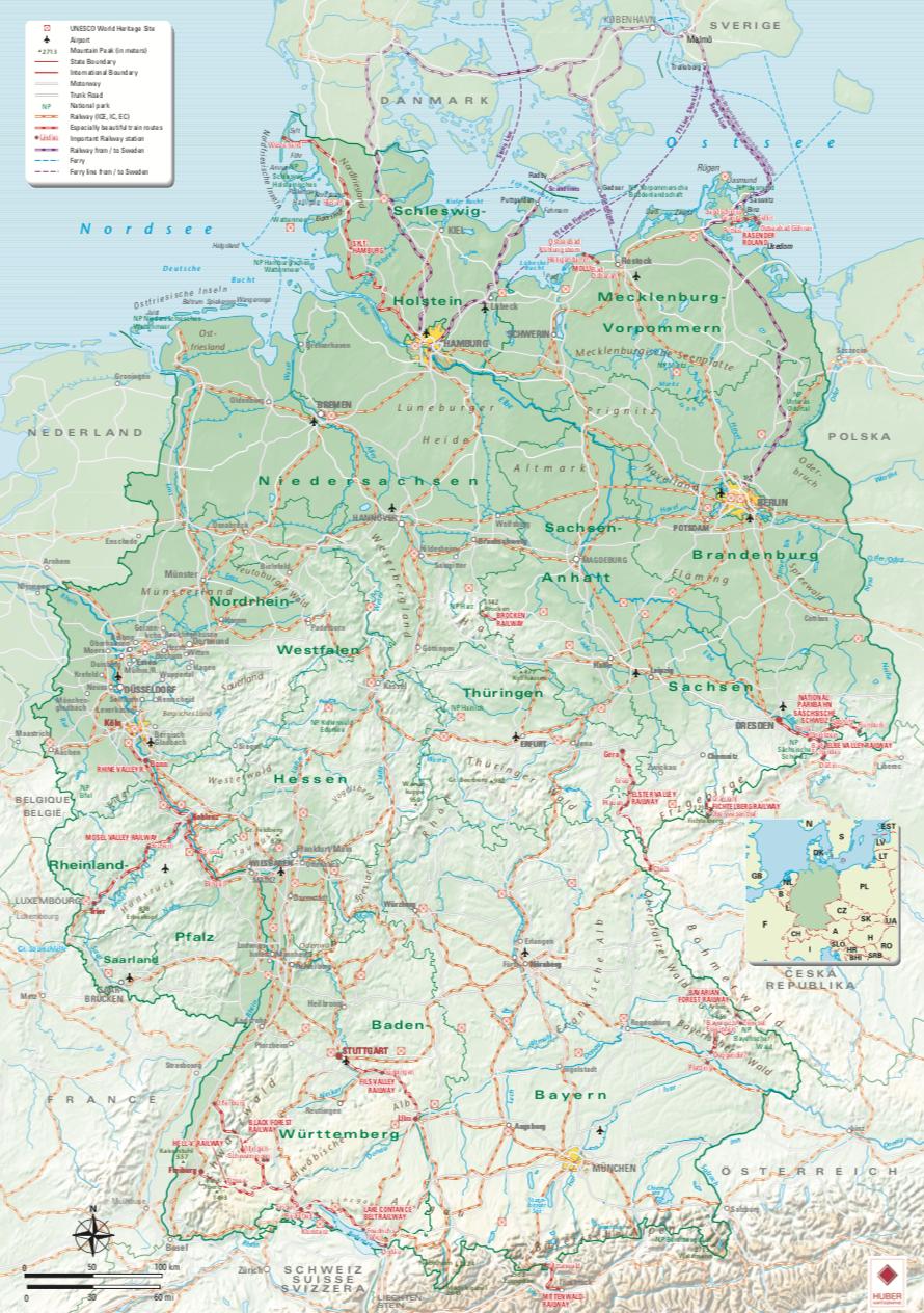 Karta över Tysklands vackraste tågsträckor