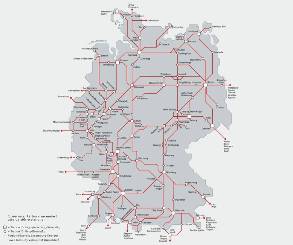 Karta över tåglinjer i Tyskland