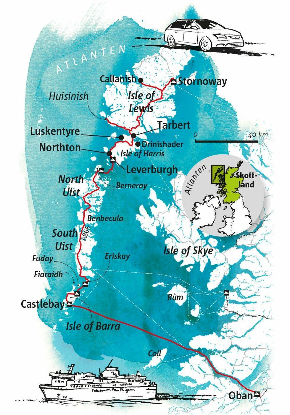 Guide: Yttre Hebriderna, Skottland