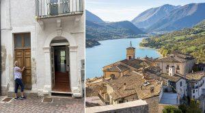 Anna framför familjens nya hus i Italien
